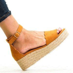 ⚡️5 ⭐️⚡️TAN SUEDE ESPADRILLES WEDGES- Shoe